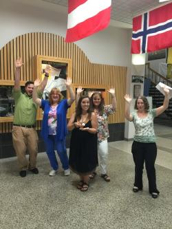 staff members in international hall of Plemmons Student Union